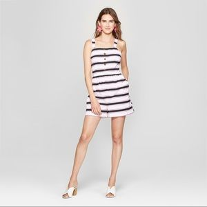 NWT Who What Wear Striped Romper with Pockets